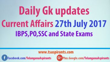 Latest Current Affairs 27th July 2017